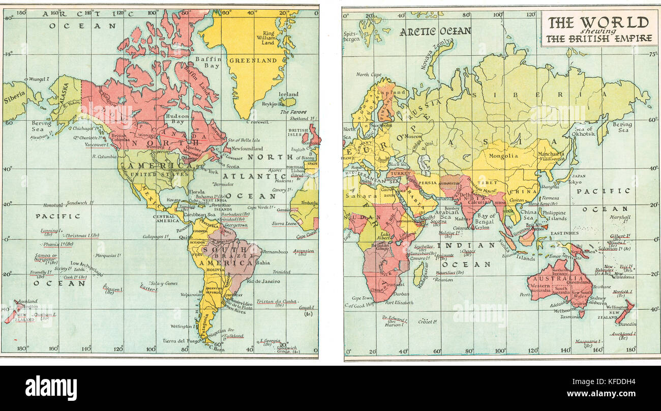 Pre World War 2 Map of the British Empire in 1935 Stock ...