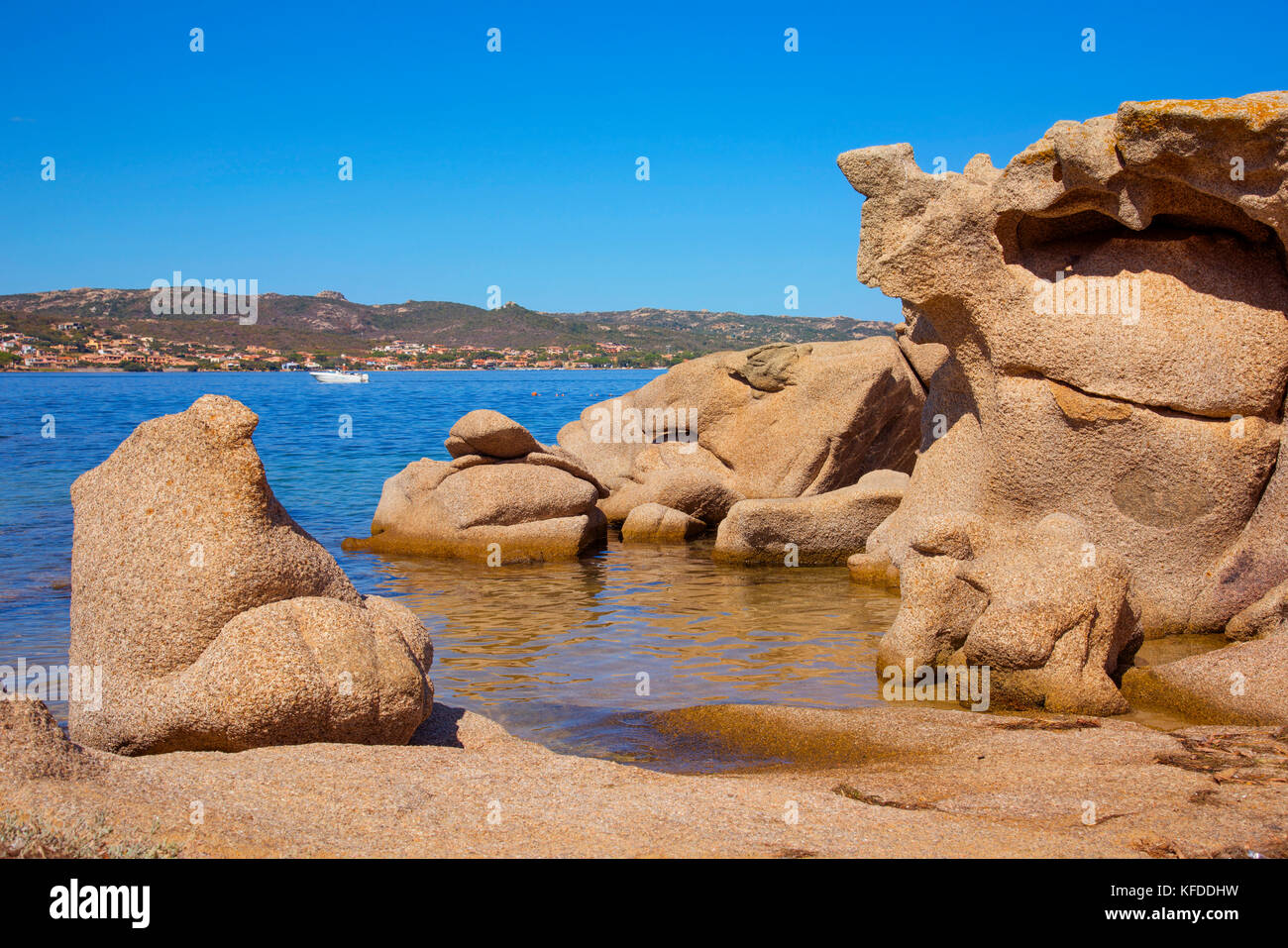 a view of the particular rock formations in Cala Ginepro beach in the Costa Smeralda, Sardinia, Italy - Stock Image