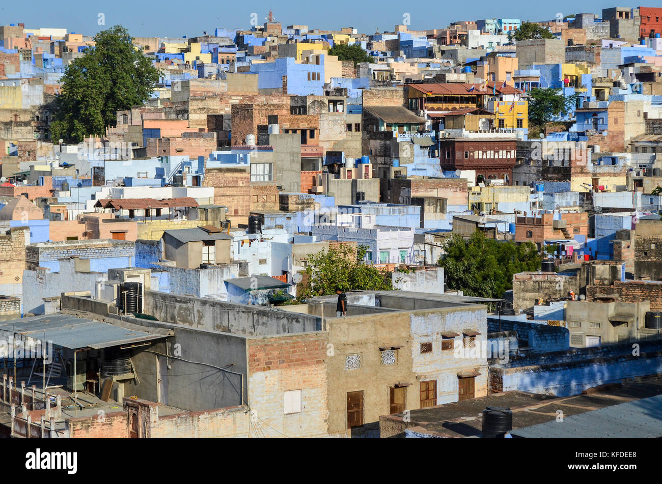 Cityscape of Jodphur with traditional indigo blue and white painted houses. Stock Photo