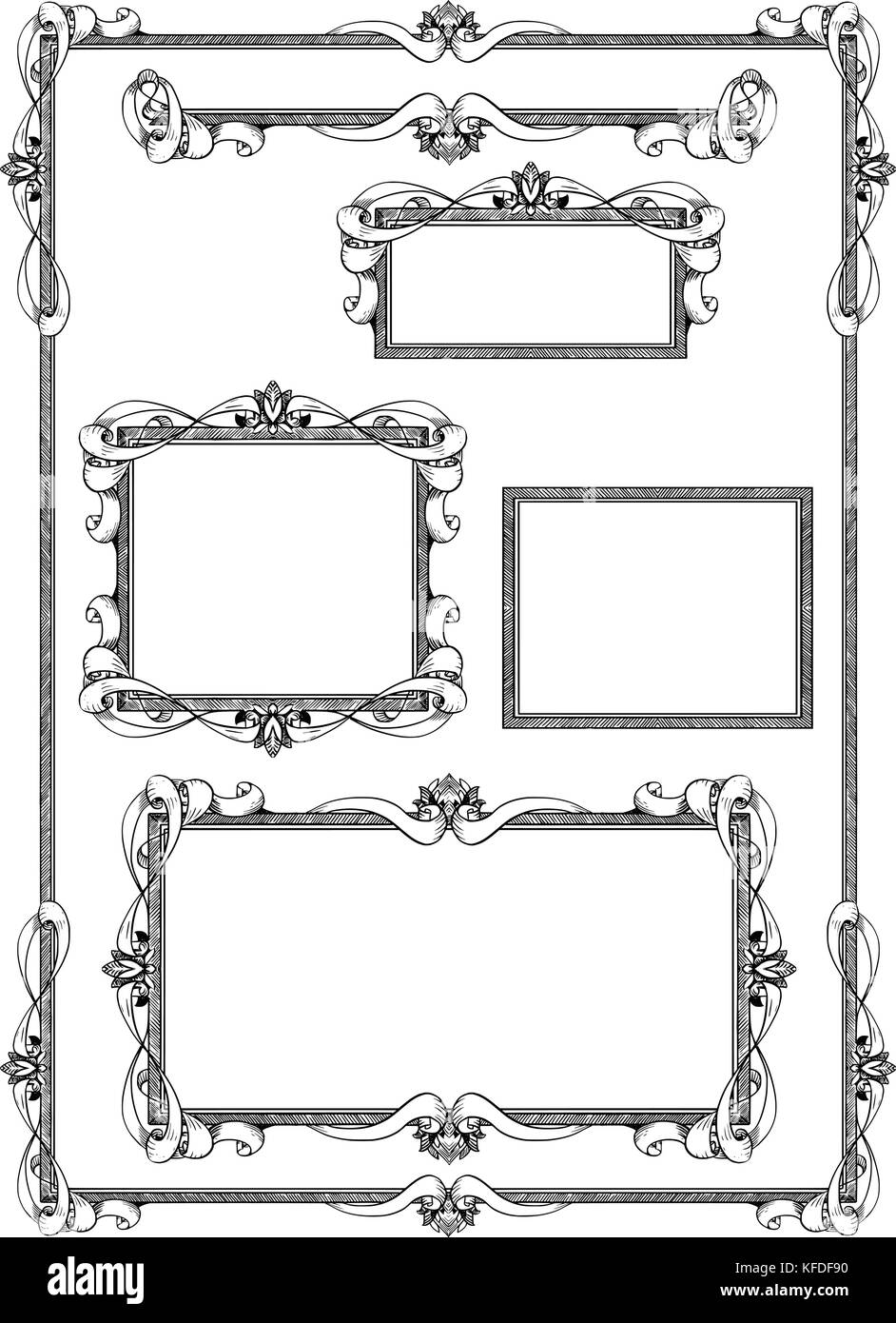 Set of various artistic ornamental frame label designs in same style ...