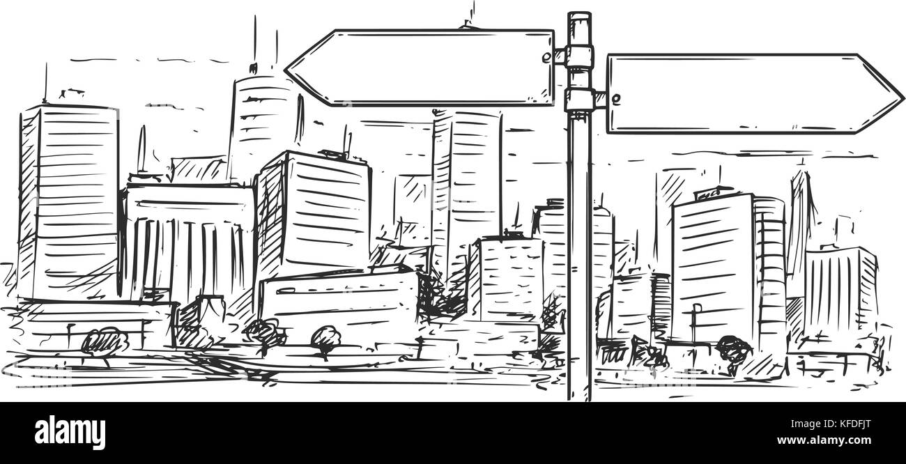 Vector cartoon drawing of empty blank road traffic sign on city high ...