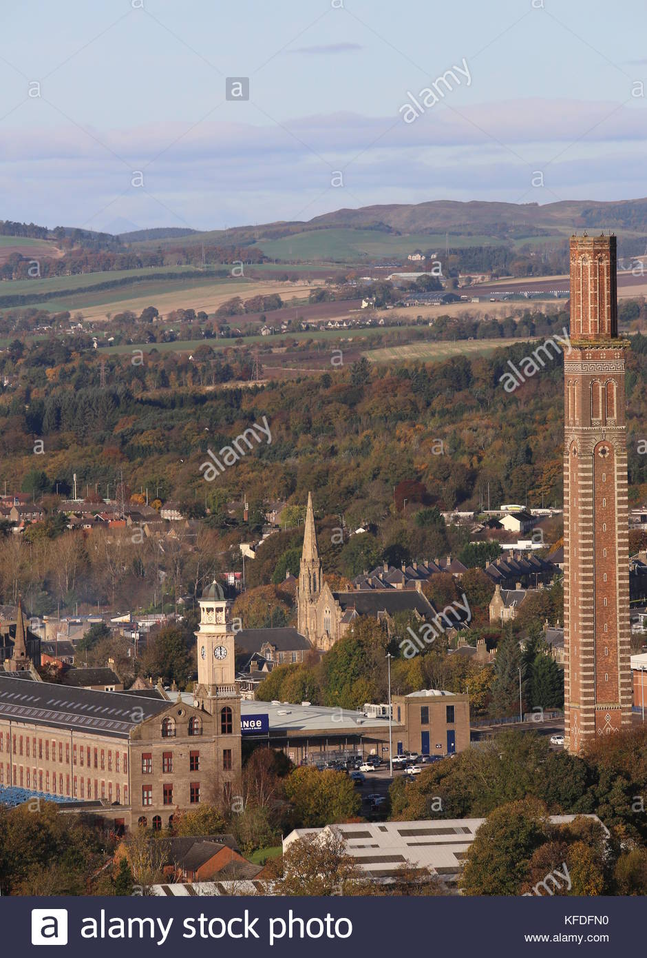 Elevated view of Cox's stack chimney Lochee Dundee Scotland  October 2017 - Stock Image
