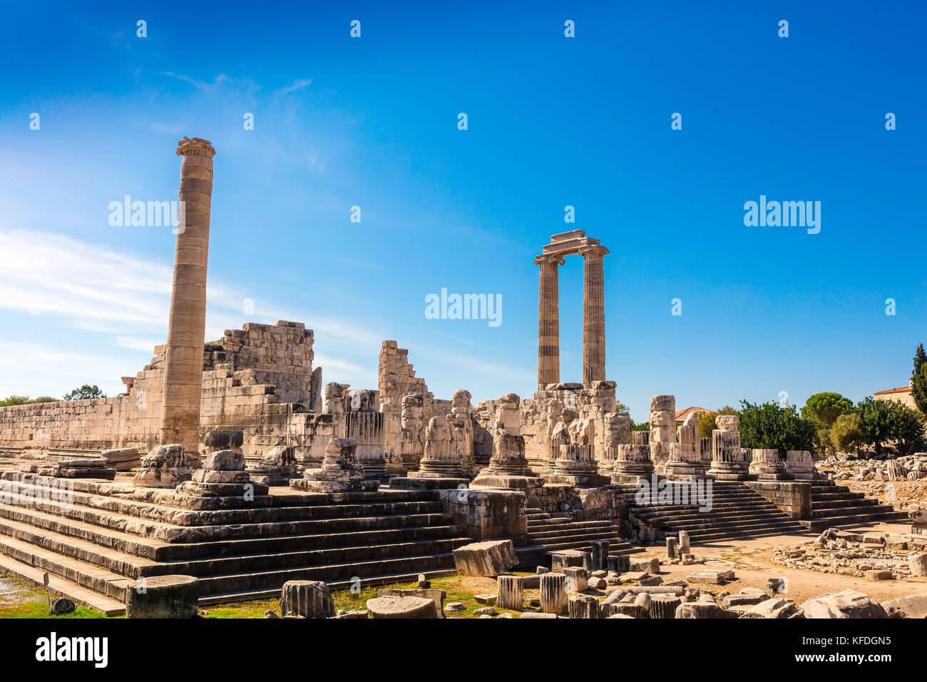Ruins of the Apollo Temple in Didyma, Turkey. - Stock Image