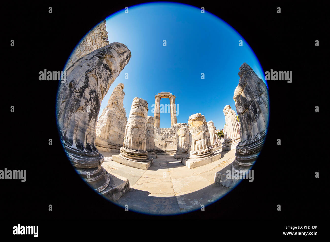 Ruins of the Apollo Temple in Didyma, Turkey.  Fish eye perspective. Stock Photo
