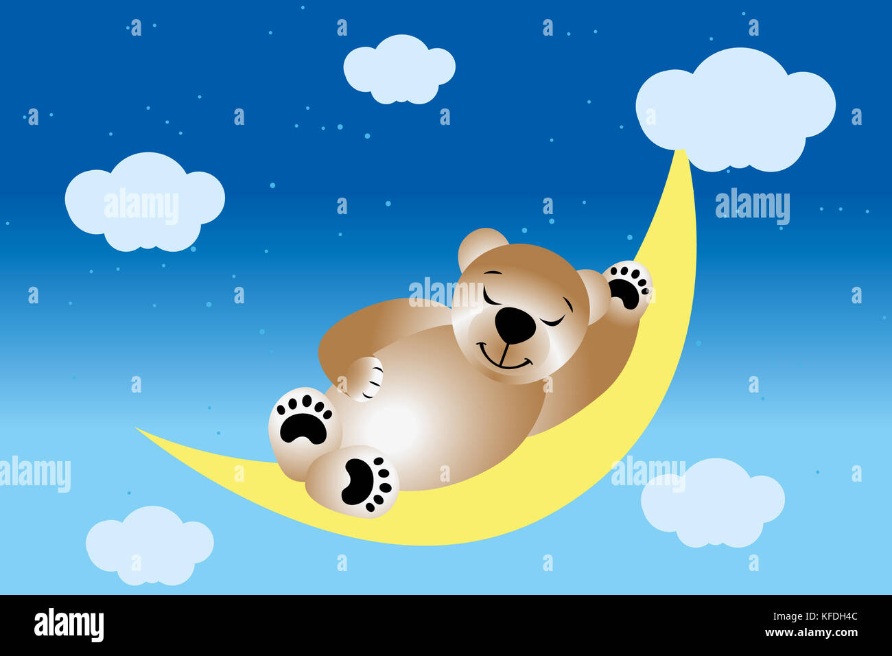 Sleeping teddy on moon in the night sky with stars and clouds Stock Photo