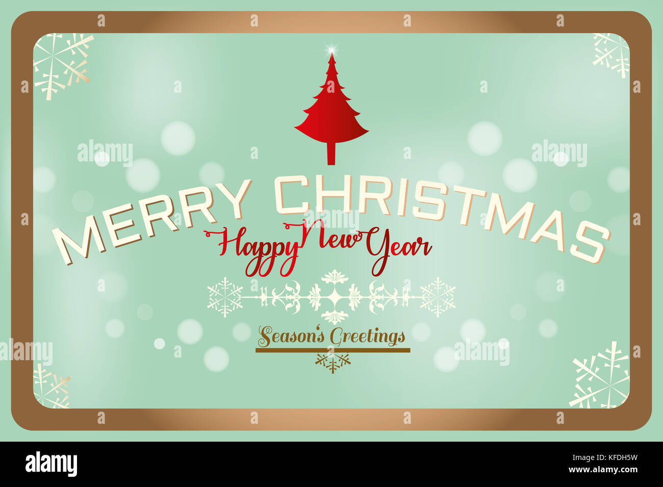 merry christmas seasons greetings and happy new year text label on a winter background with snowflakes tree and design elemnts greeting card templ