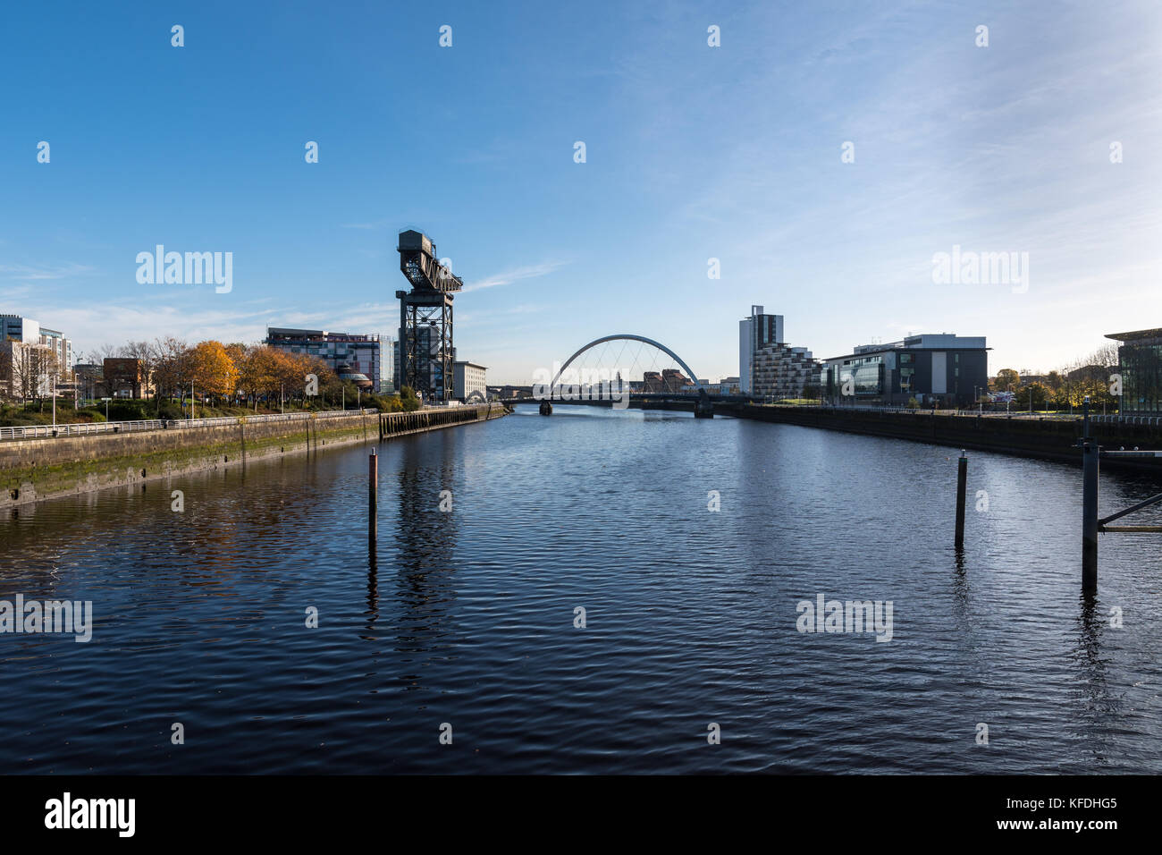 A View From The Glasgow Science Centre At The Clyde Auditorium (Armadillo) Crowne Plaza, Squinty Bridge and Finnieston - Stock Image
