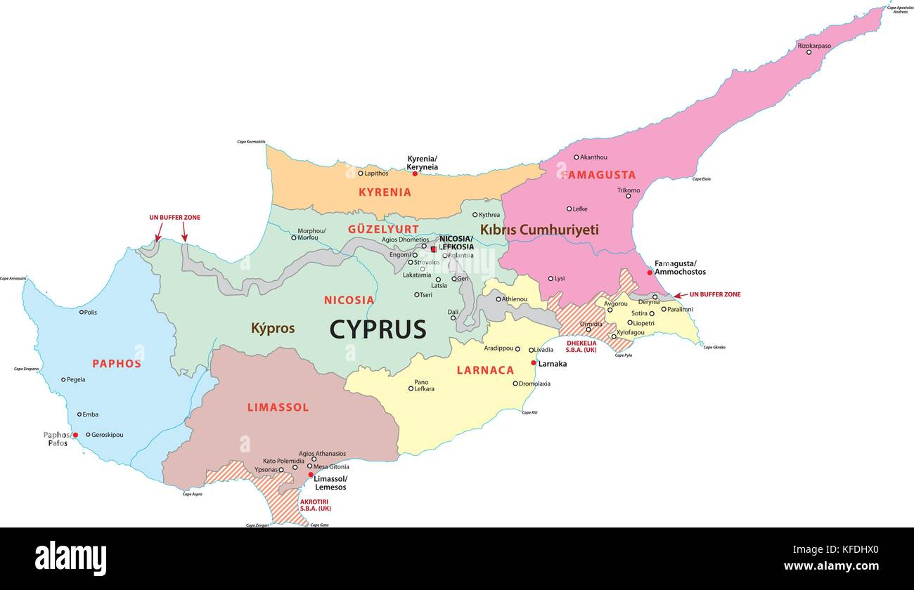 cyprus administrative and political vector map Stock Vector Art