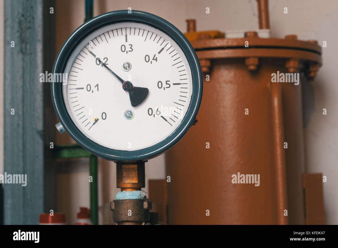 Old vintage soviet manometr of air compressor - measure air pressure - Stock Image