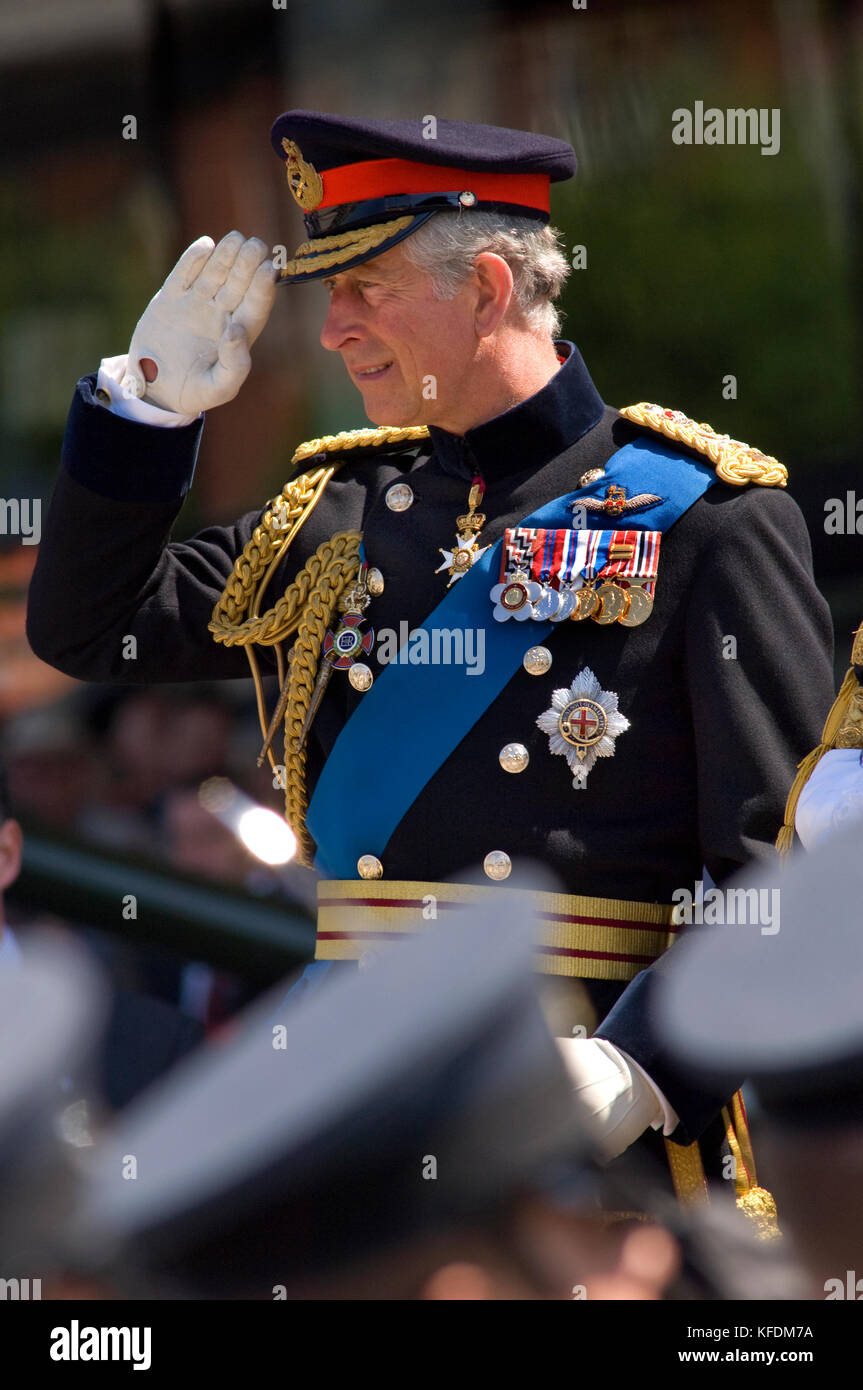 His Royal Highness The Prince of Wales, wearing the full-day ceremonial uniform of a General in the Army, with a - Stock Image