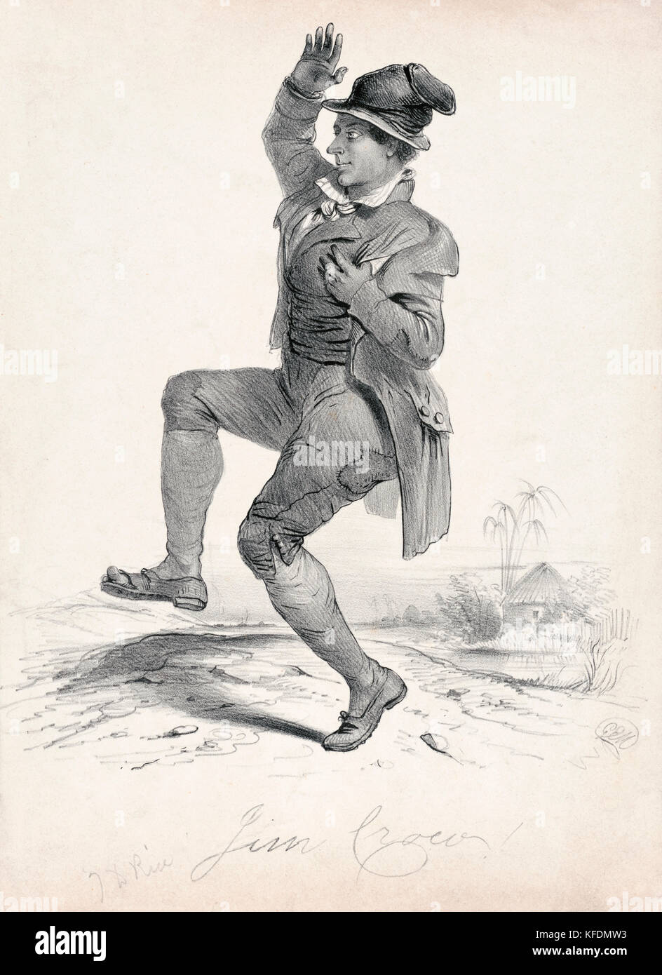 Thomas Dartmouth Rice (1808-1860), better known as 'Daddy Rice' shown in blackface playing his most popular creation - Stock Image