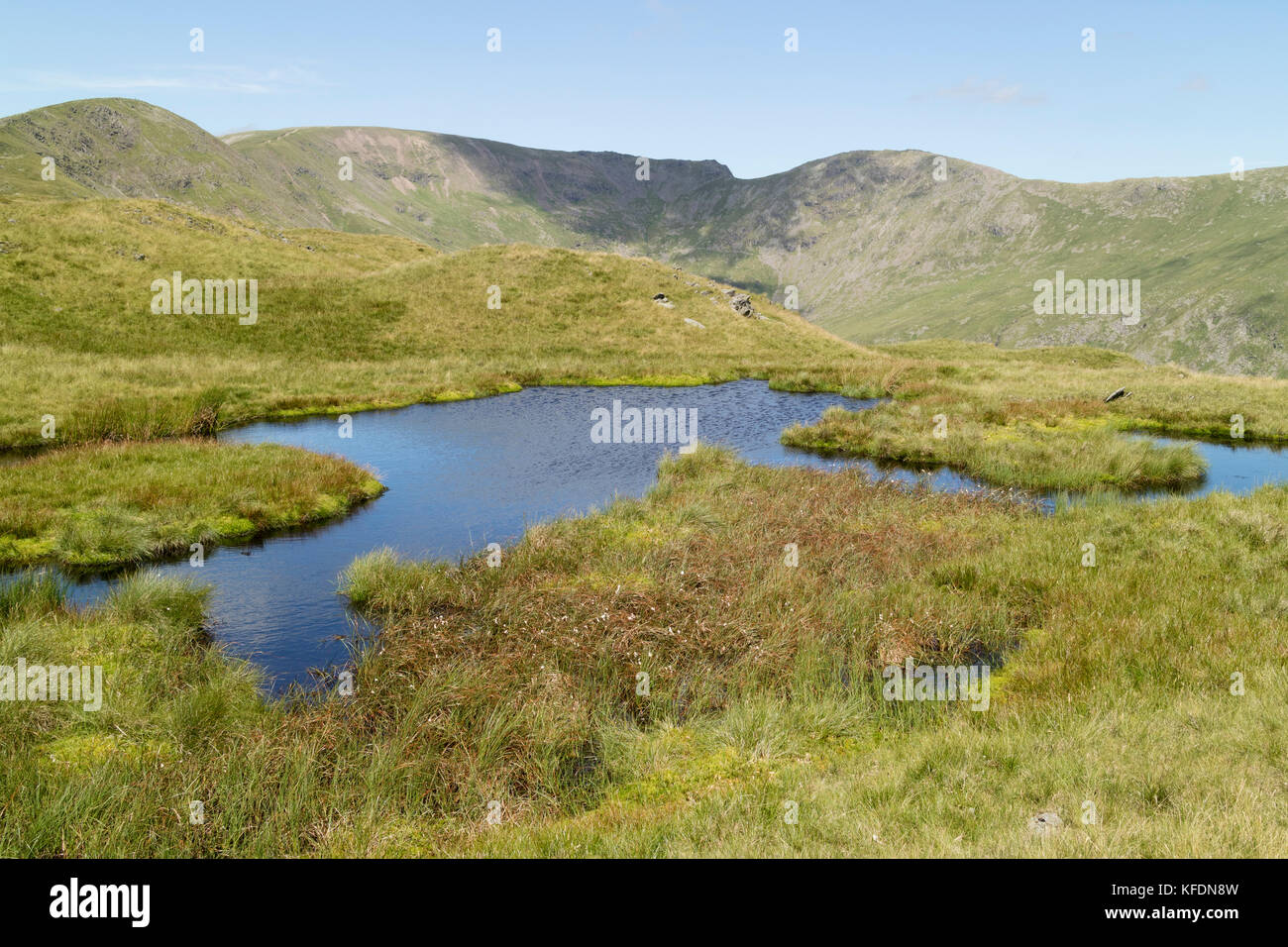 Upland peaty tarn on Fairfield, Lake District, UK - Stock Image