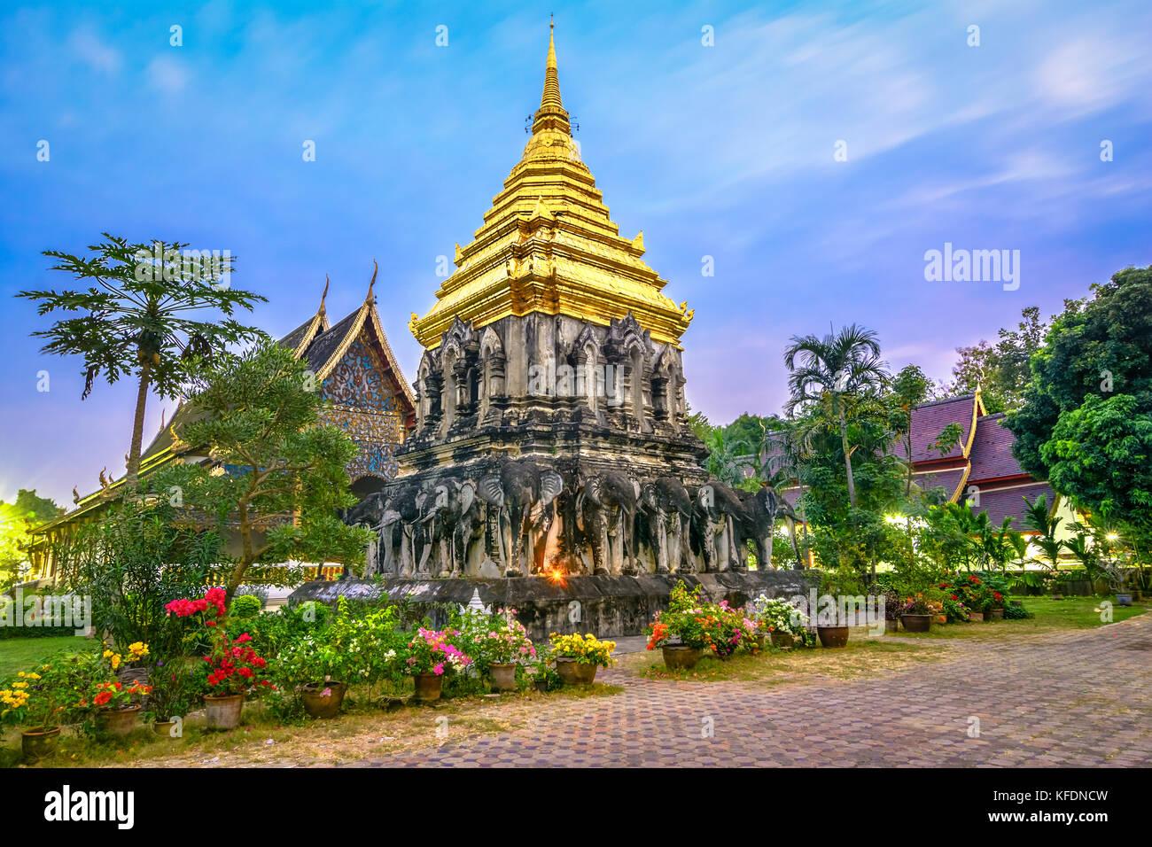 Chedi Chang Lom and Viharn, Wat Chiang Man, Chiang Mai, Thailand,Asia - Stock Image