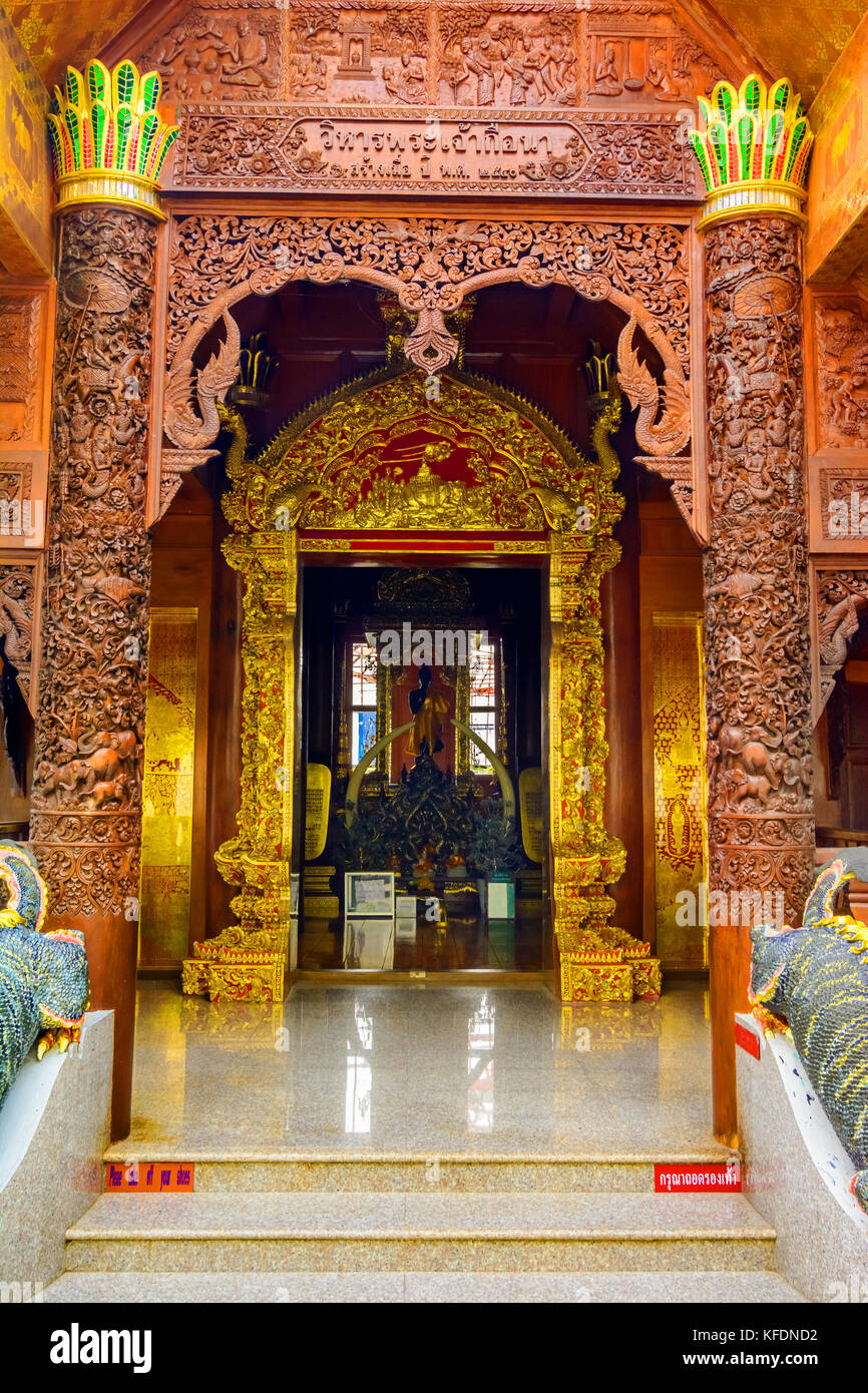 Architectural detail at Wat Phra That, Doi Suthep, Chiang Mai, Popular historical temple in Thailand - Stock Image
