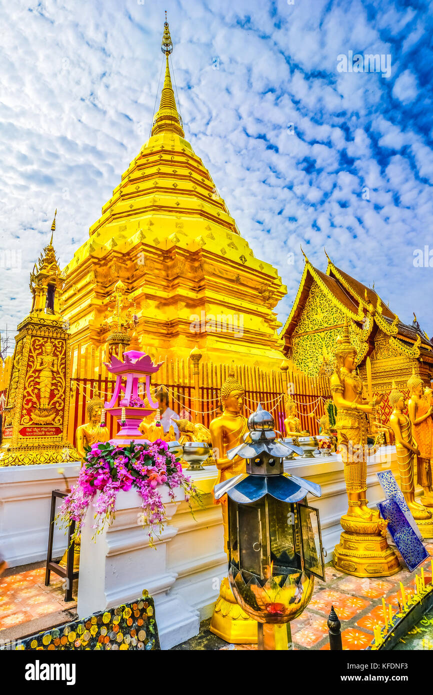 Golden stupa at Wat Phra That Doi Suthep, Chiang Mai, Popular historical temple in Thailand - Stock Image