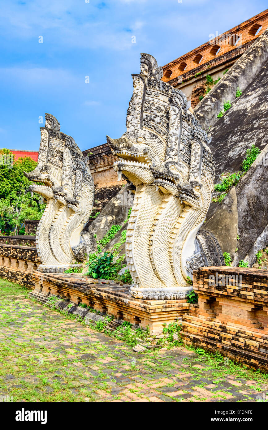 Ancient pagoda at Wat Chedi Luang in Chiang Mai, province of Thailand,Asia - Stock Image
