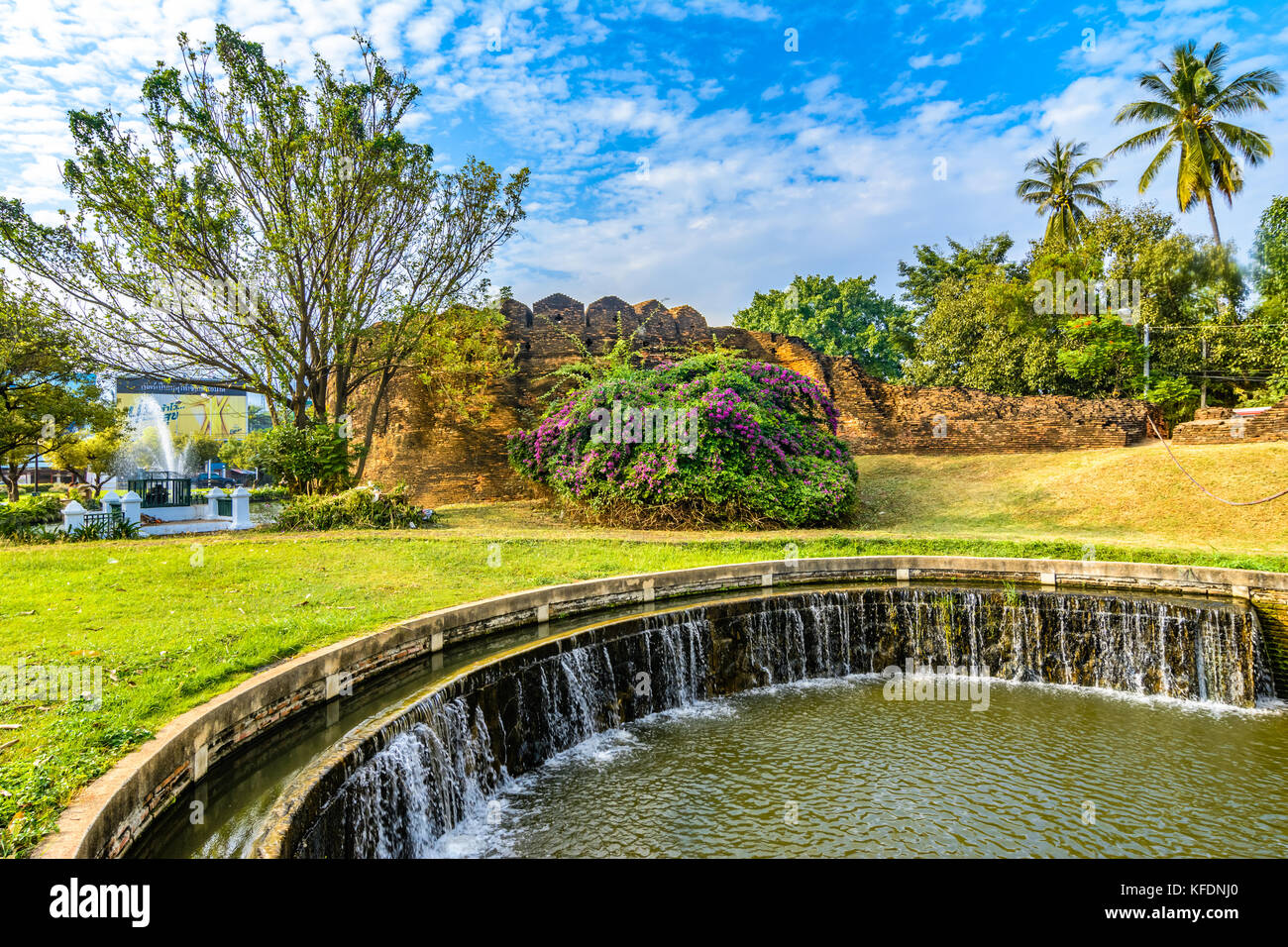 Part of the old city wall and moat at Ku Huang Corner, Chiang Mai, Thailand - Stock Image