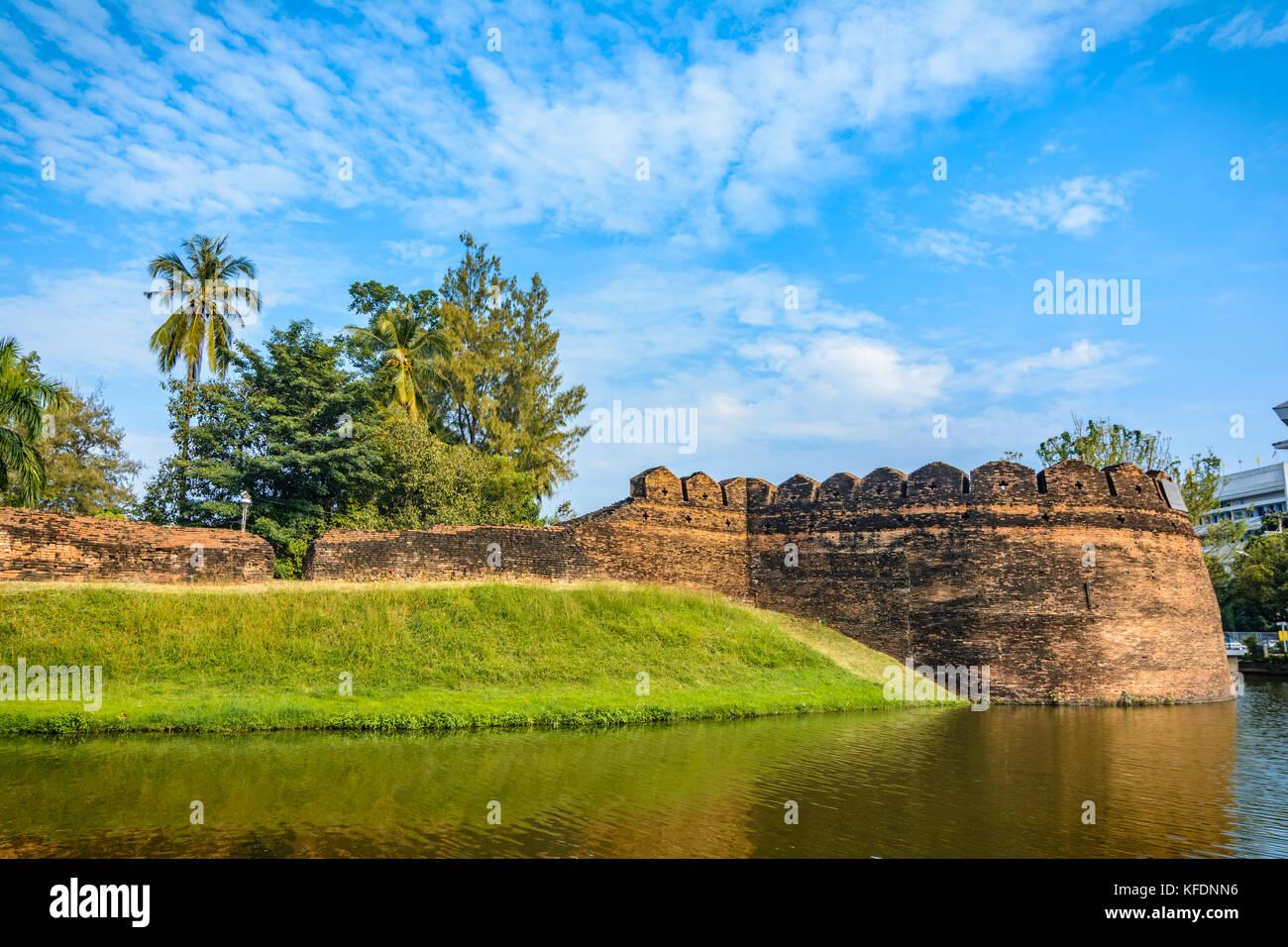 Part of the old city wall and moat at Ku Huang Corner, Chiang Mai, Thailand - Stock Image