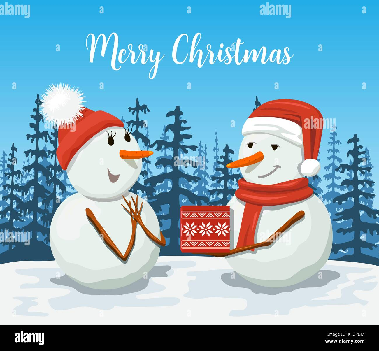 Friendly Snowmen in a santa hat. Snowwoman. Smiling Frosty with a gift box. Winter landscape with forest silhouette. - Stock Vector