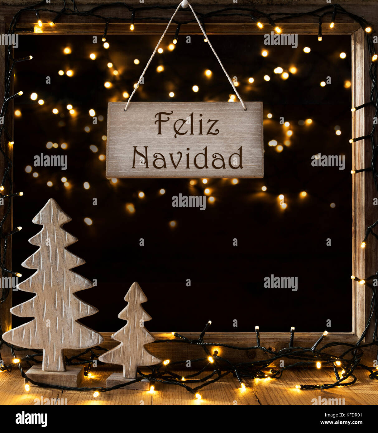 0896a067e8fe5 Sign With Spanish Text Feliz Navidad Means Merry Christmas. Window Frame  With Lights In The Night In Background. Christmas Decoration Like Christmas  T