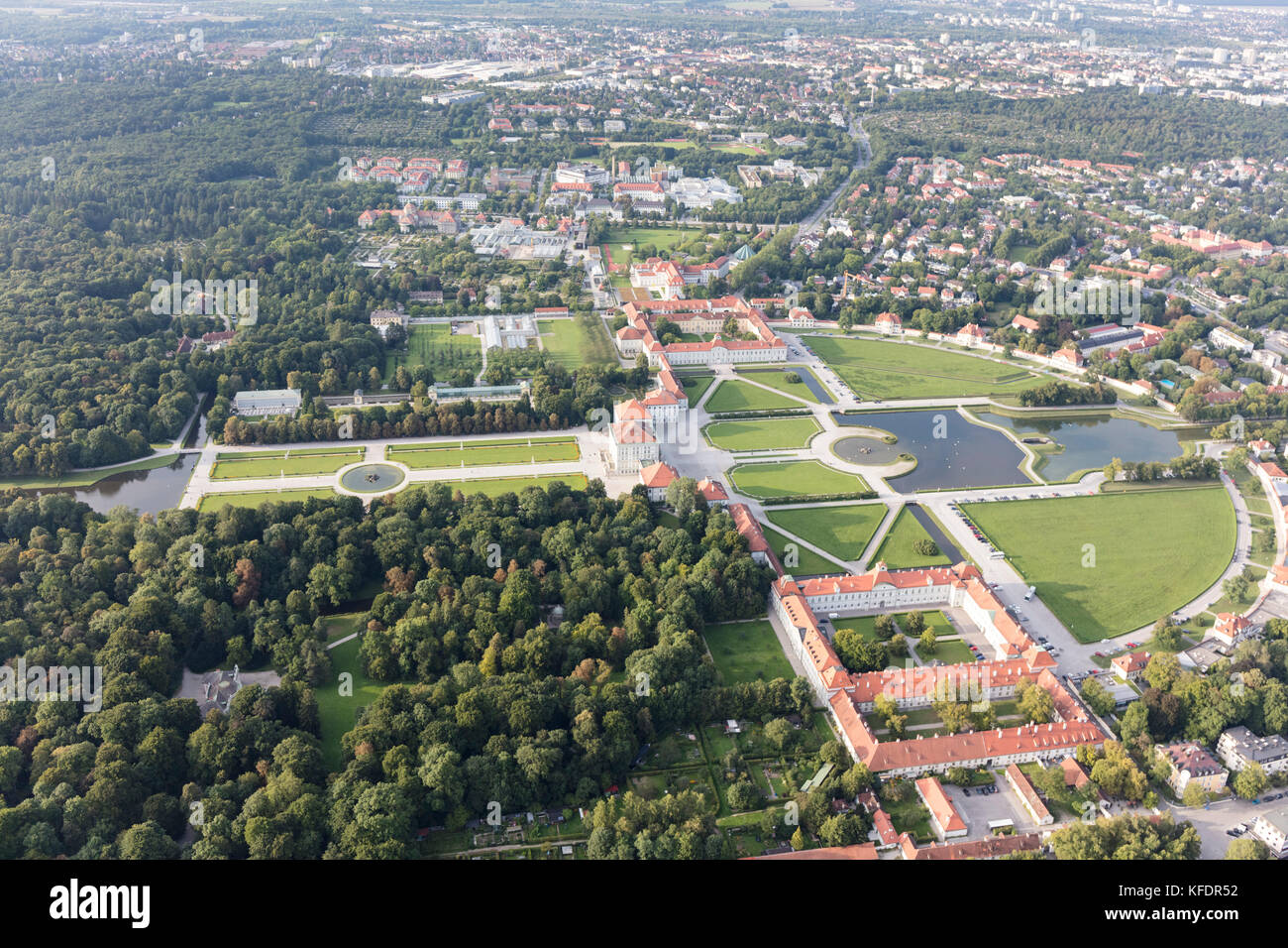 aerial view of Nymphenburg Palace (Schloss Nymphenburg), Munich, Bavaria, Germany - Stock Image