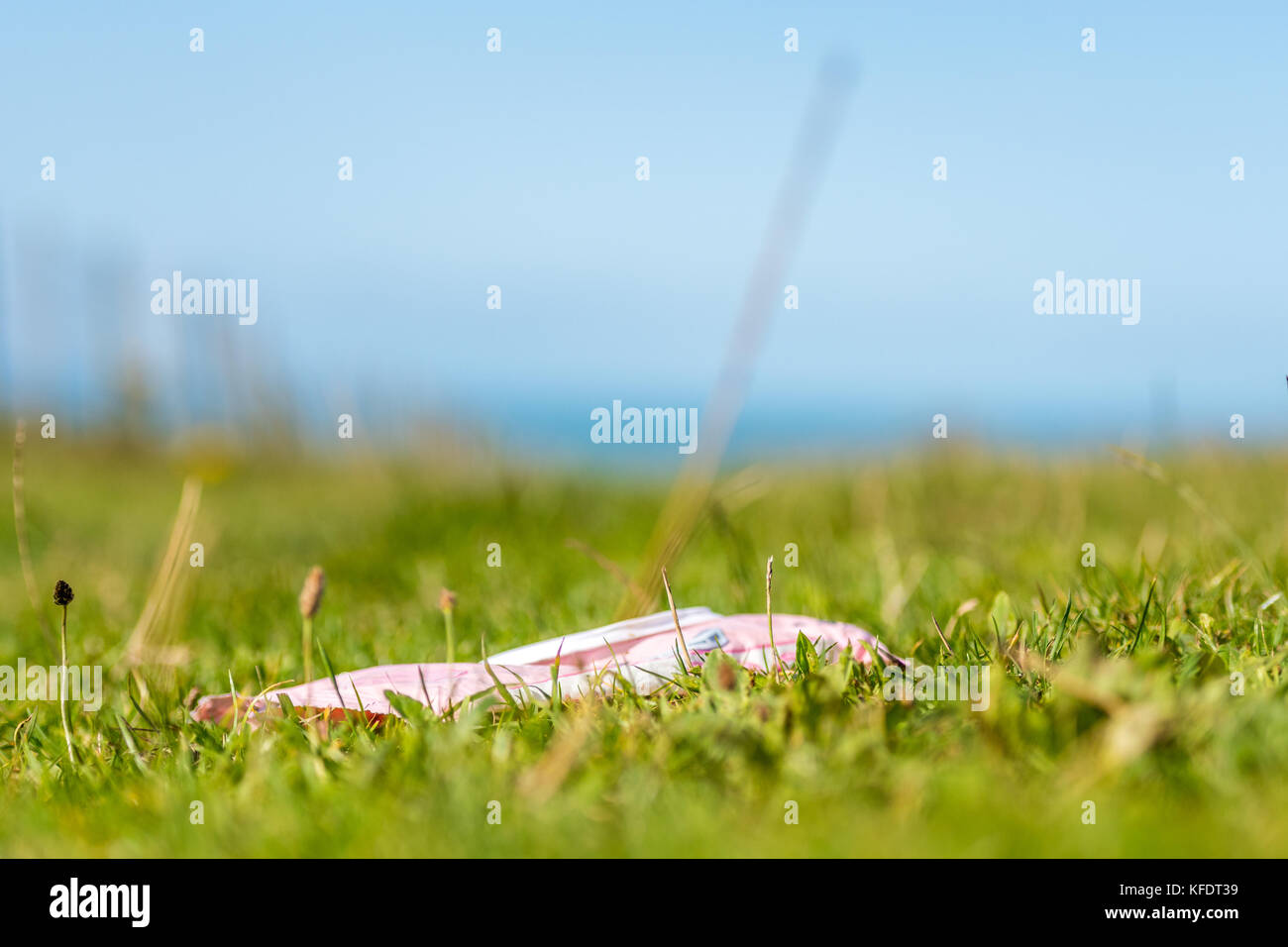 Plastic packaging litter in countryside field Stock Photo