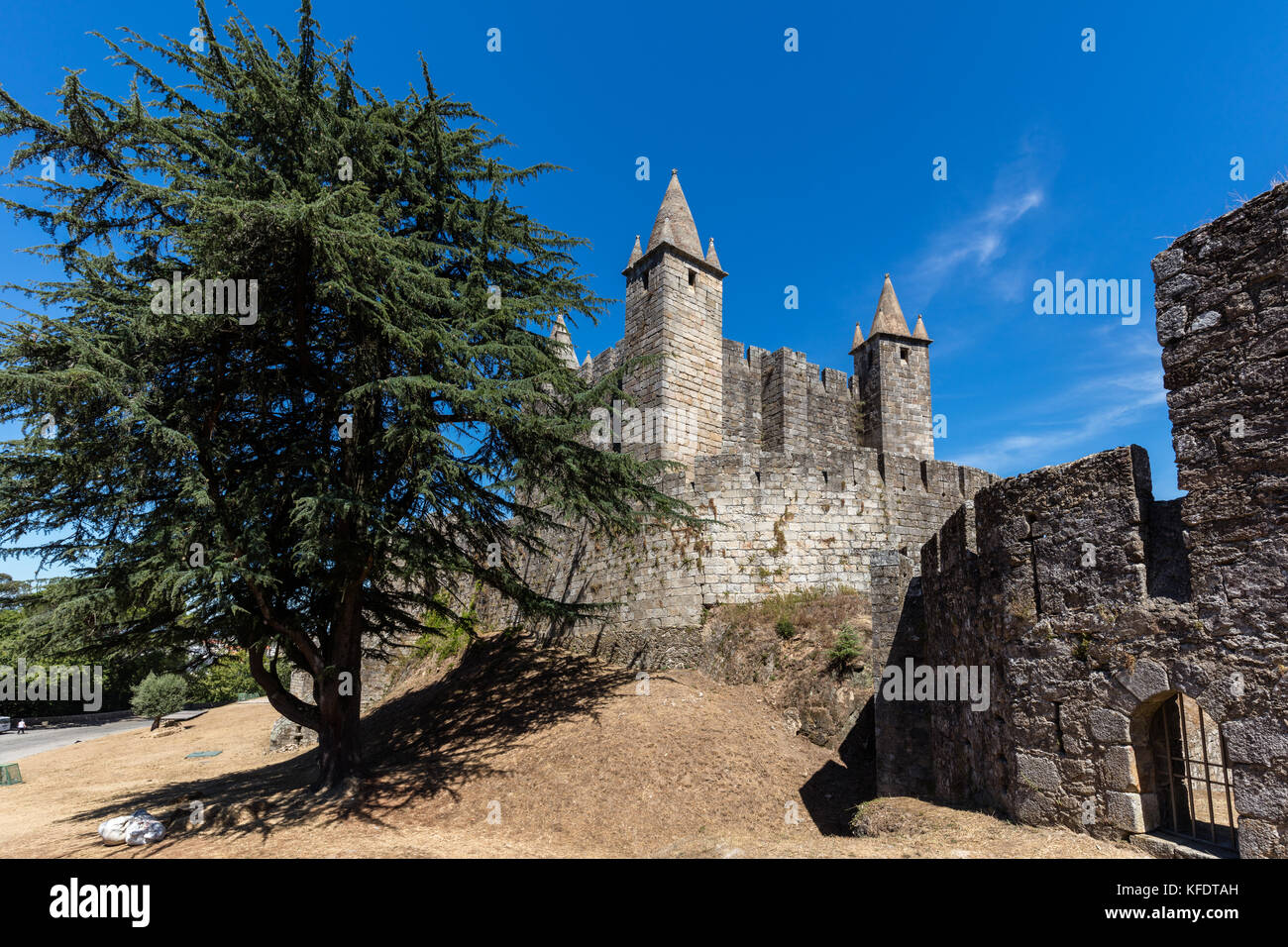 Santa Maria da Feira Castle in Portugal, a testament to the military architecture of the Middle Ages and an important - Stock Image