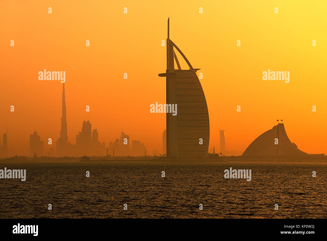 Burj Khalifa, the tallest building in the world and Burj al Arabi Hotel, Emirate Dubai, United Arab Emirates - Stock Image