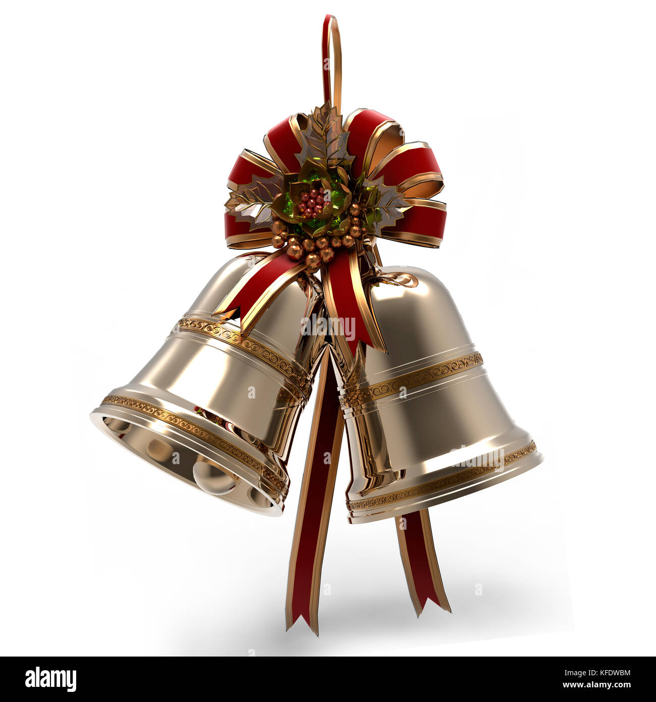 Christmas decoration. Bells Holly leaf and Ribbon Stock Photo
