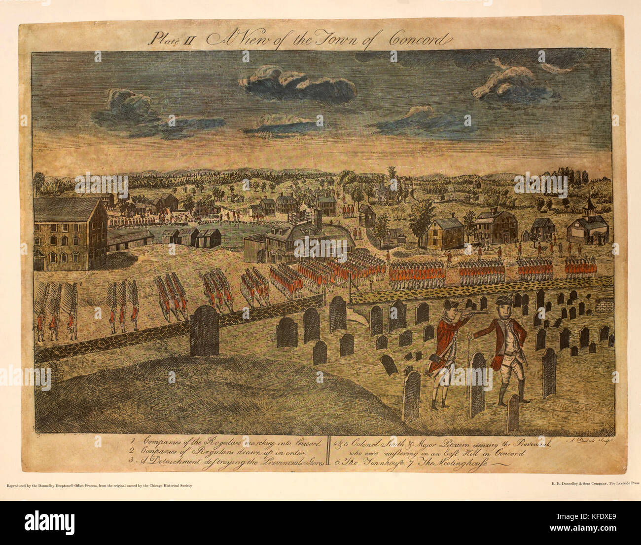 A View of the Town of Concord, Plate II, by Ralph Earl, 1775, Hand-Colored Etching and Engraving by Amos Doolittle, - Stock Image