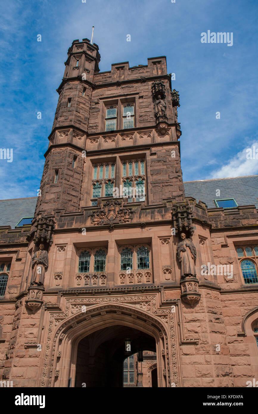 Low Angle View of Tower, East Pyne Hall, Princeton University, Princeton, New Jersey, USA - Stock Image