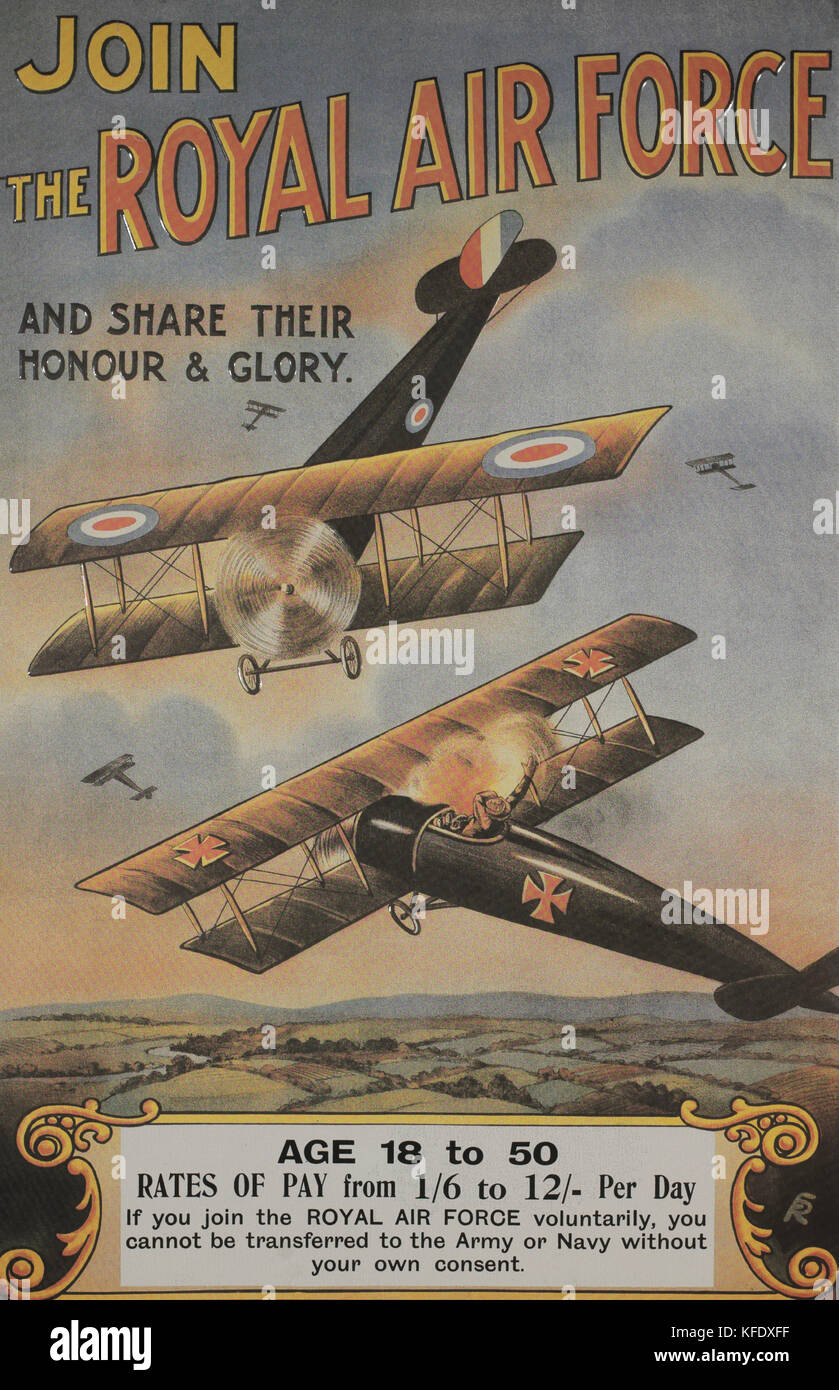 Royal Air Force WWI Recruitment Poster, 1915 - Stock Image
