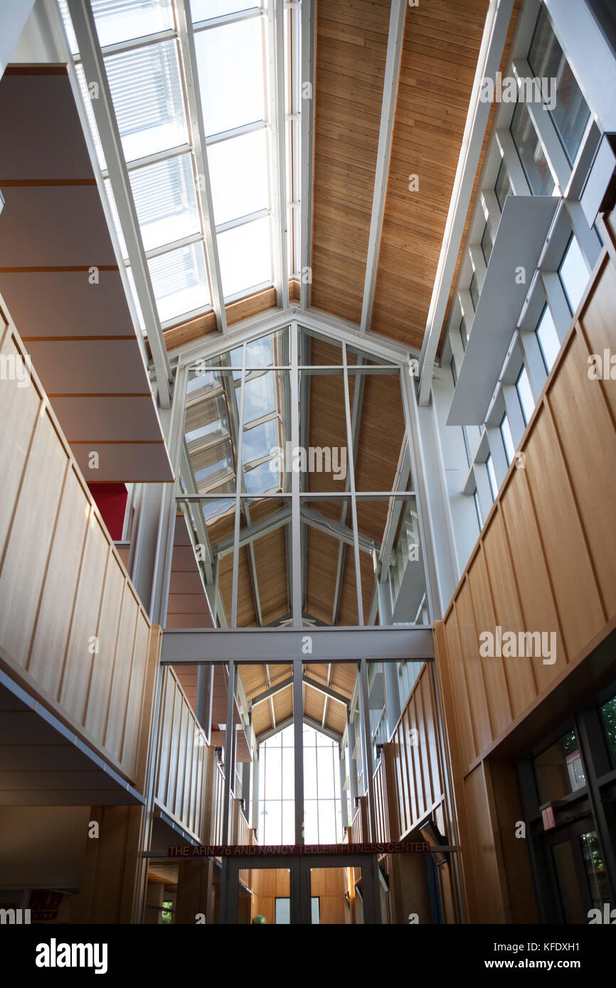 Low Angle Interior View, Alumni Field House, Haverford College, Haverford, Pennsylvania, USA - Stock Image