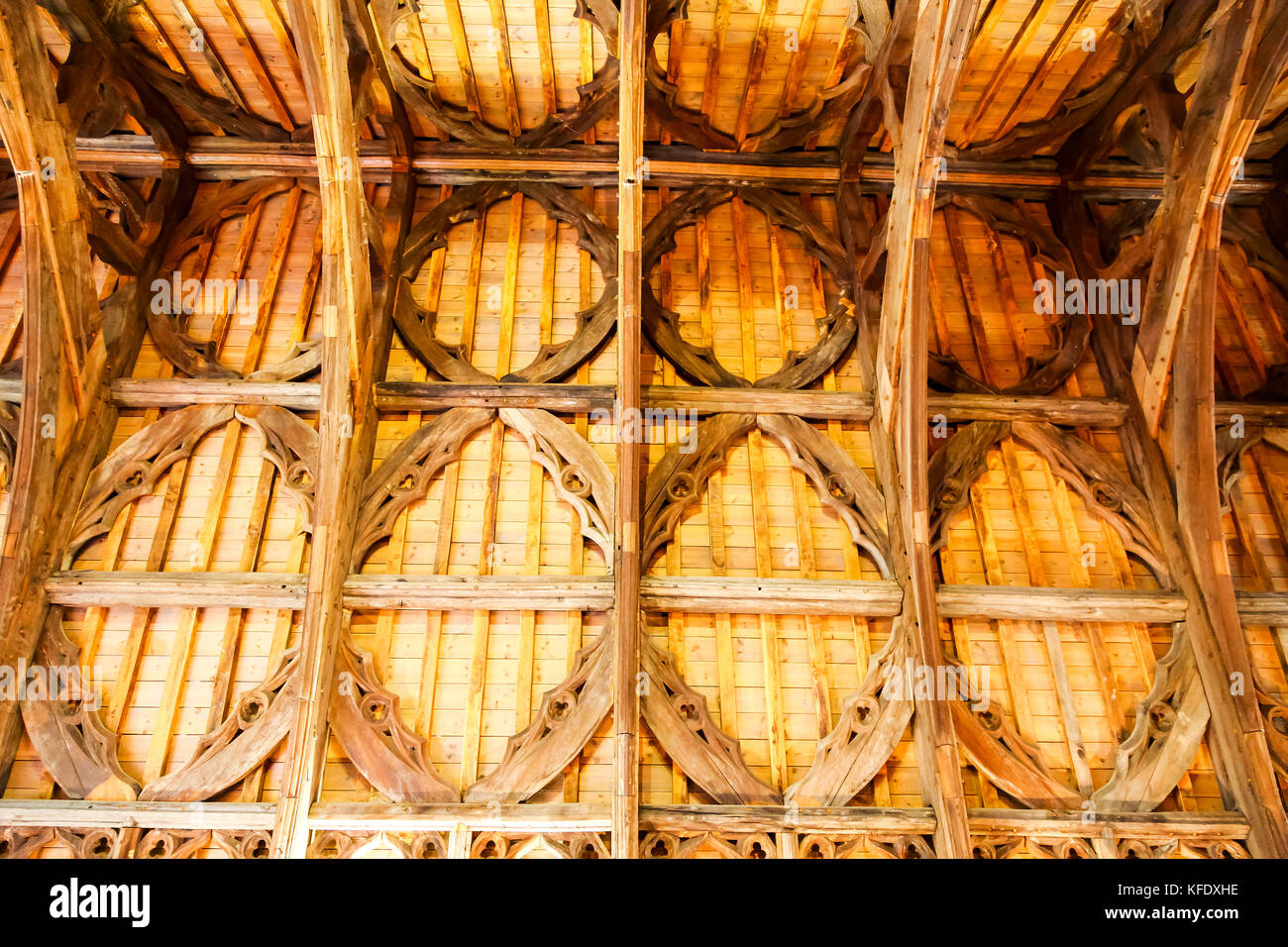 The intricate roof timbers of the former Guesten Hall relocated at Avoncroft Museum of Buildings, Stoke Heath, Bromsgrove, - Stock Image