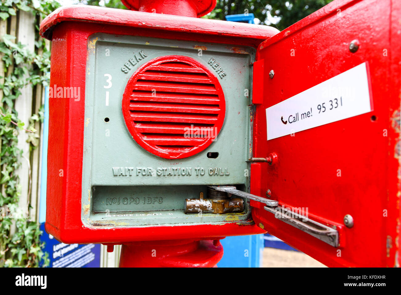 Speaker system in a 'Police Pillar', National Telephone Kiosk Collection, Avoncroft Museum of Buildings, - Stock Image
