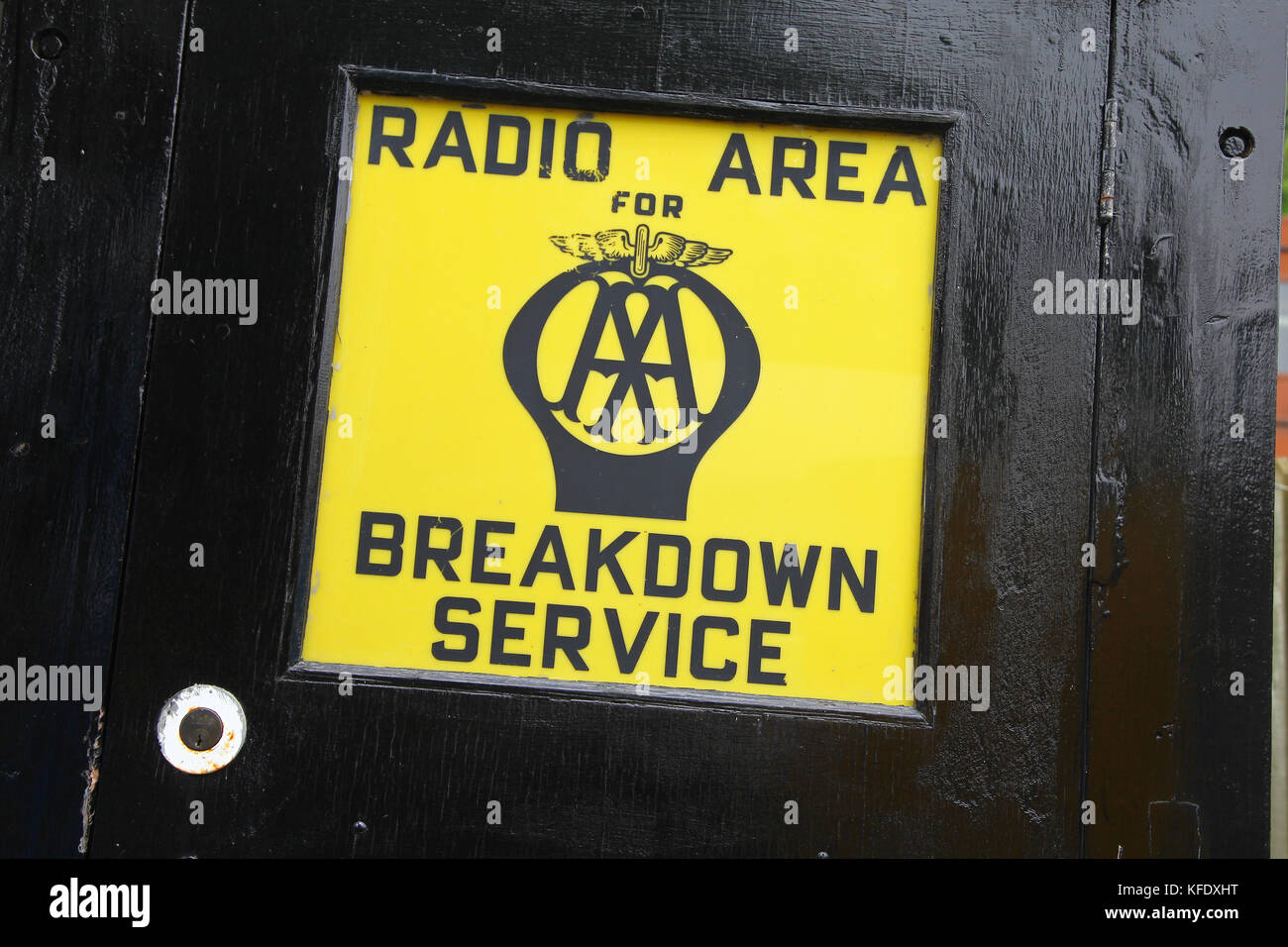 A sign saying Radio Area for the AA Breakdown Service National Telephone Kiosk Collection, Avoncroft Museum of Buildings, - Stock Image