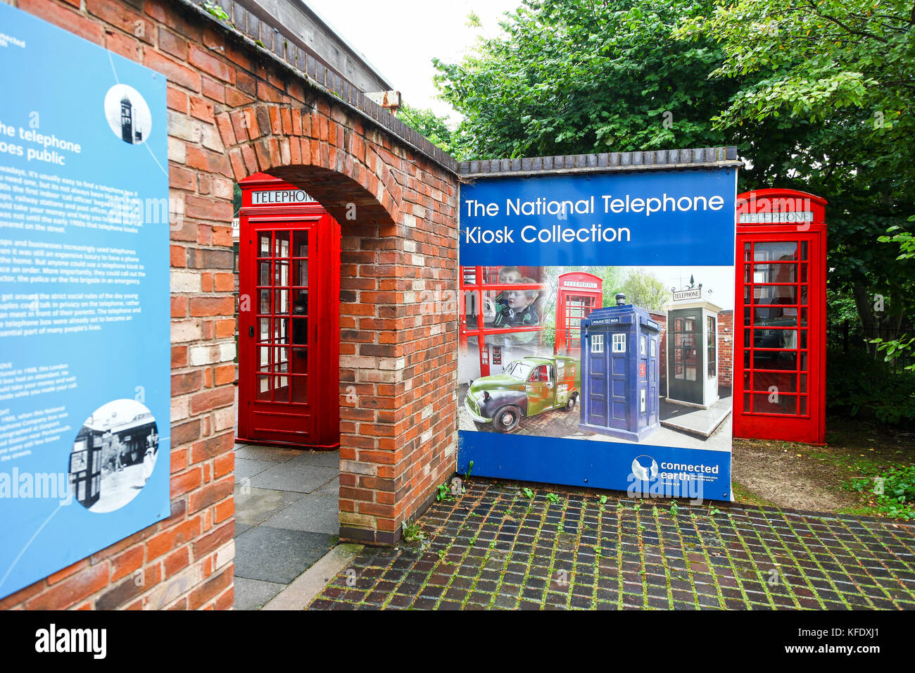 The entrance to the National Telephone Kiosk Collection at the Avoncroft Museum of Buildings, Stoke Heath, Bromsgrove, - Stock Image