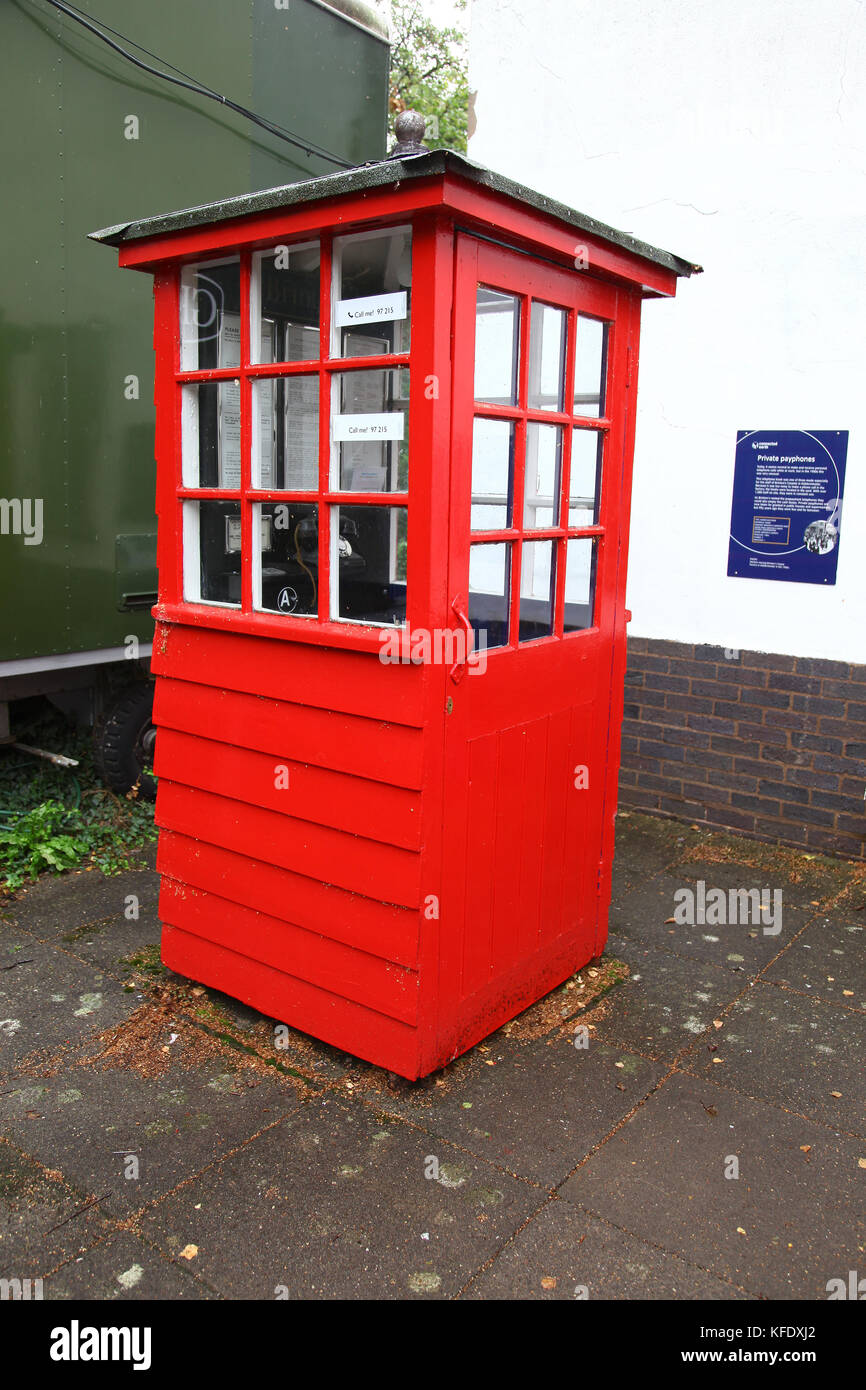 A private phone box from Brinton's carpets at The National Telephone Kiosk Collection, Avoncroft Museum of Buildings, - Stock Image