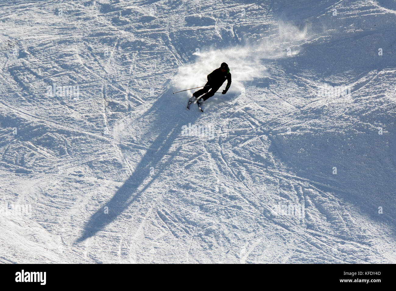 terminillo, italy - january 02, 2015: skiers on the slope of ski