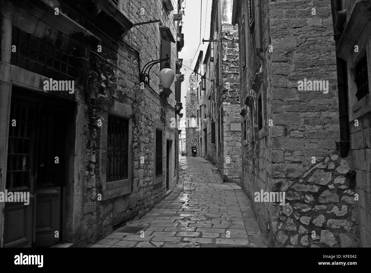 Narrow streets of Šibenik (Croatia) - Stock Image