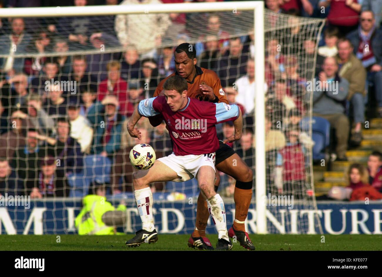 Footballer Alan Moore and Joleon Lescott Burnley v Wolverhampton Wanderers March 2002 - Stock Image