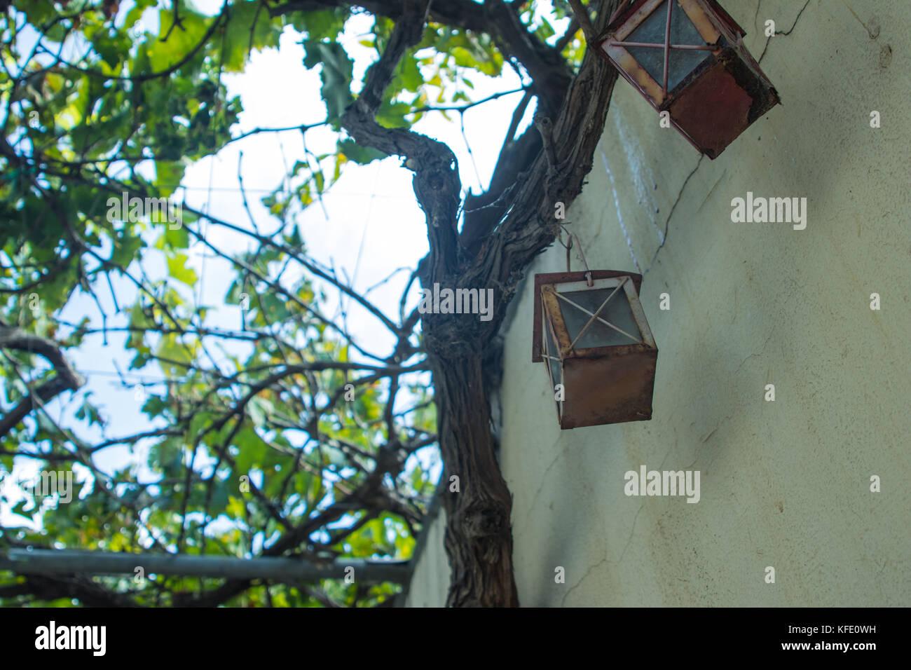 rusty garden lights - Stock Image