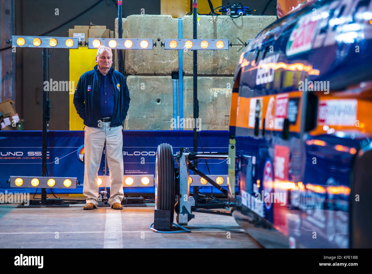 Former land speed record holder Richard Noble at the roll out of Bloodhound SSC supersonic car. In hangar at Cornwall - Stock Image