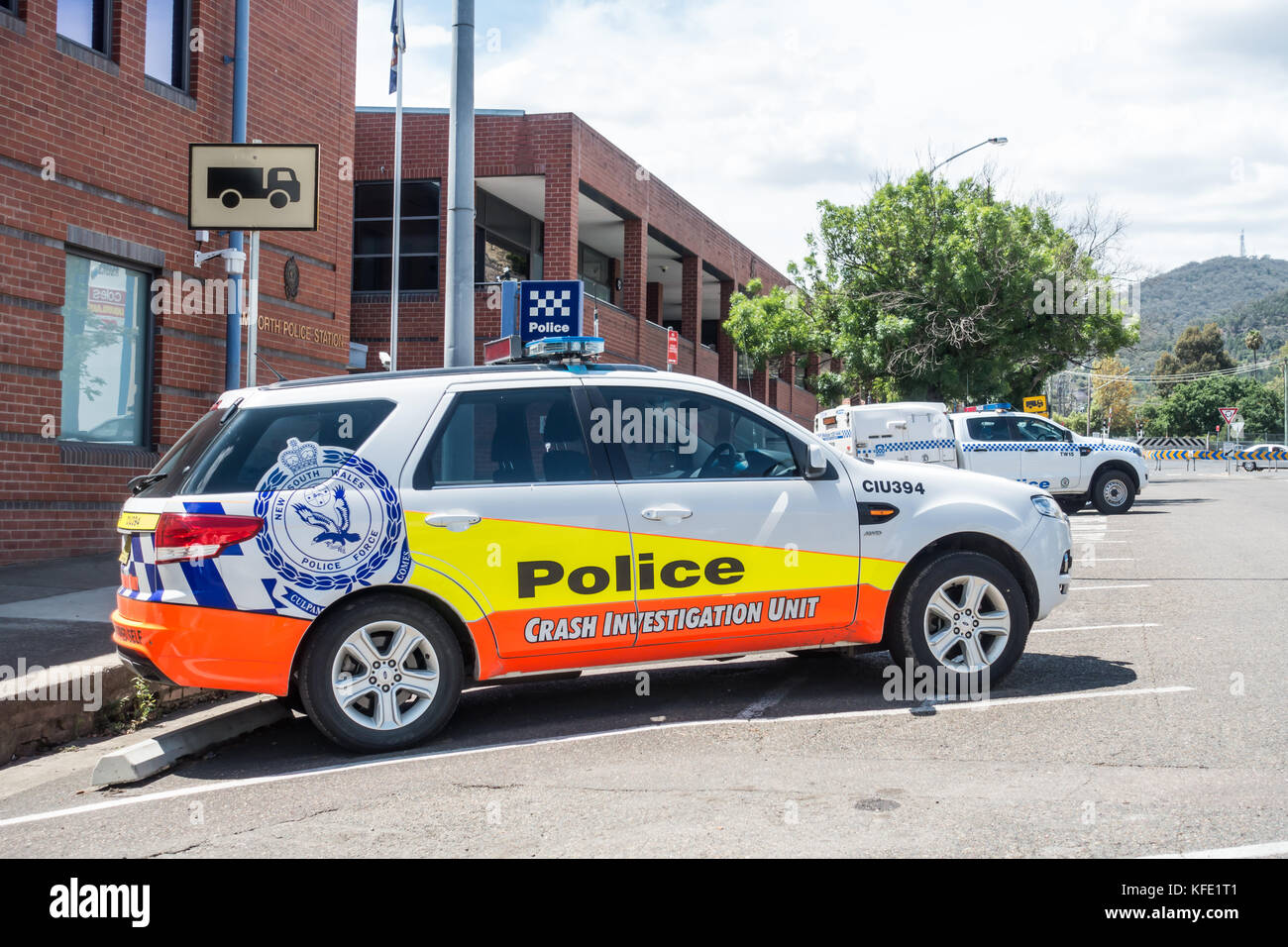 New South Wales Police Crash Investigate Unit vehicle parked at police station Tamworth Australia. - Stock Image