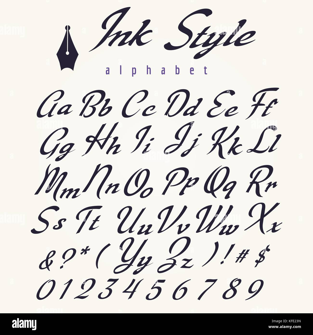 Ink Style Alphabet Retro Script Letters Hand Drawn For Wedding Invitations And Calligraphy Posters Vector Illustration