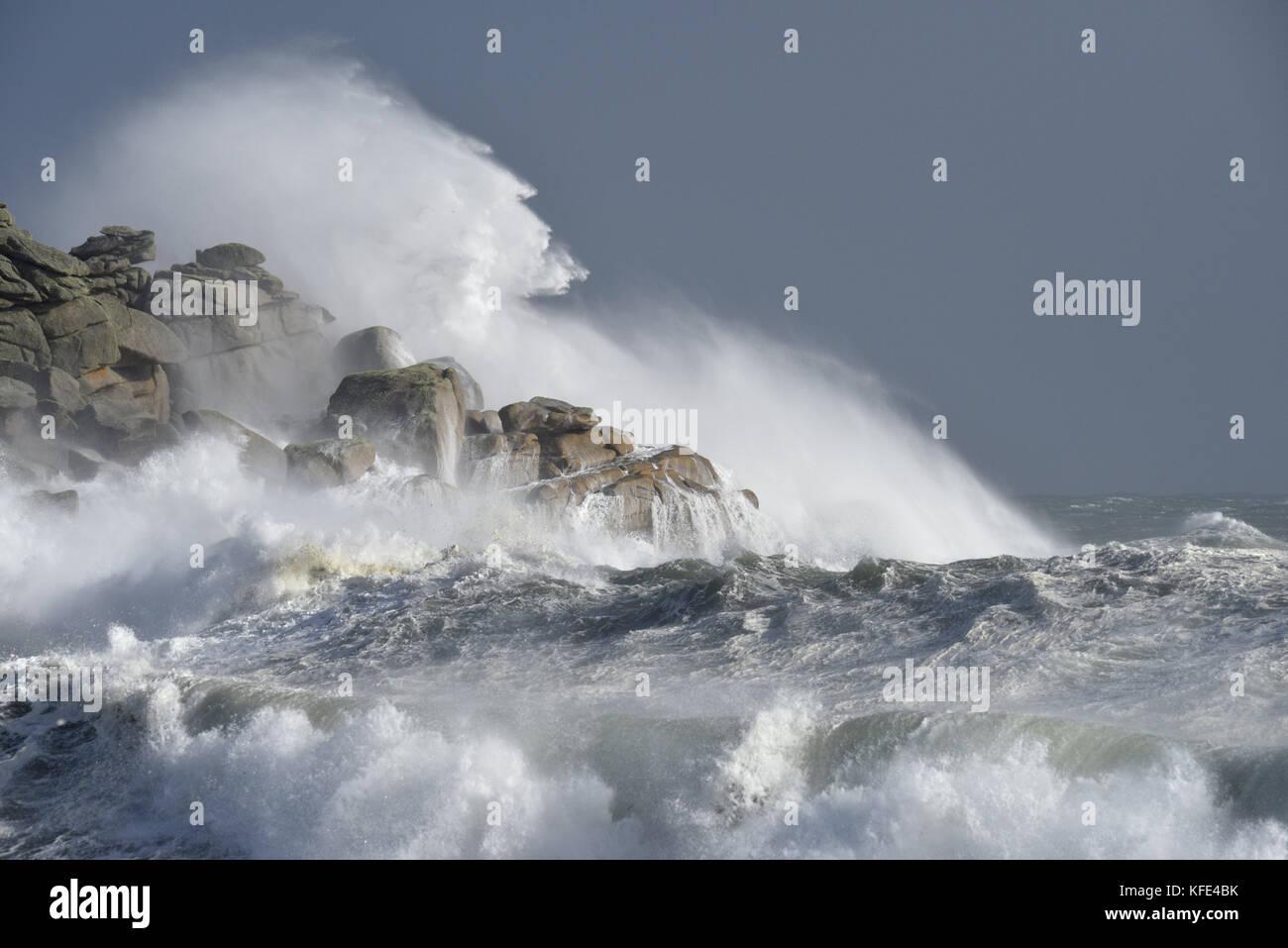 Stormy Sea - Hurricane Ophelia, Isles of Scilly Stock Photo