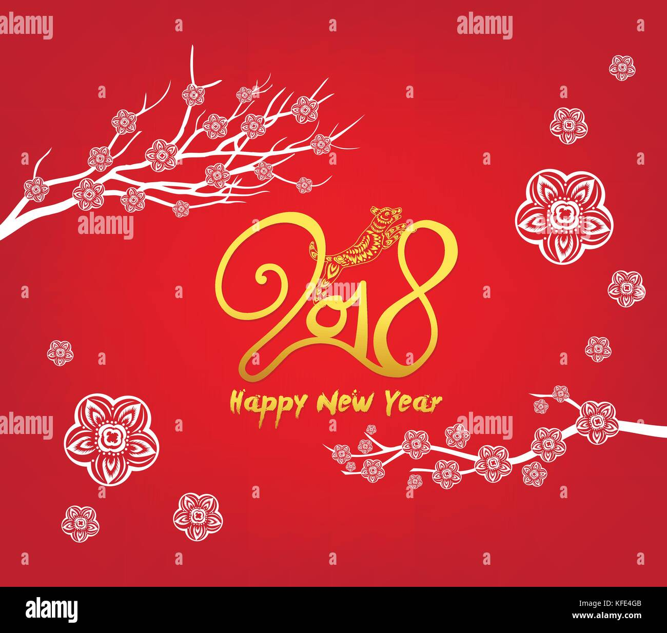 Happy new year 2018 greeting card and chinese new year of the dog happy new year 2018 greeting card and chinese new year of the dog cherry blossom background m4hsunfo