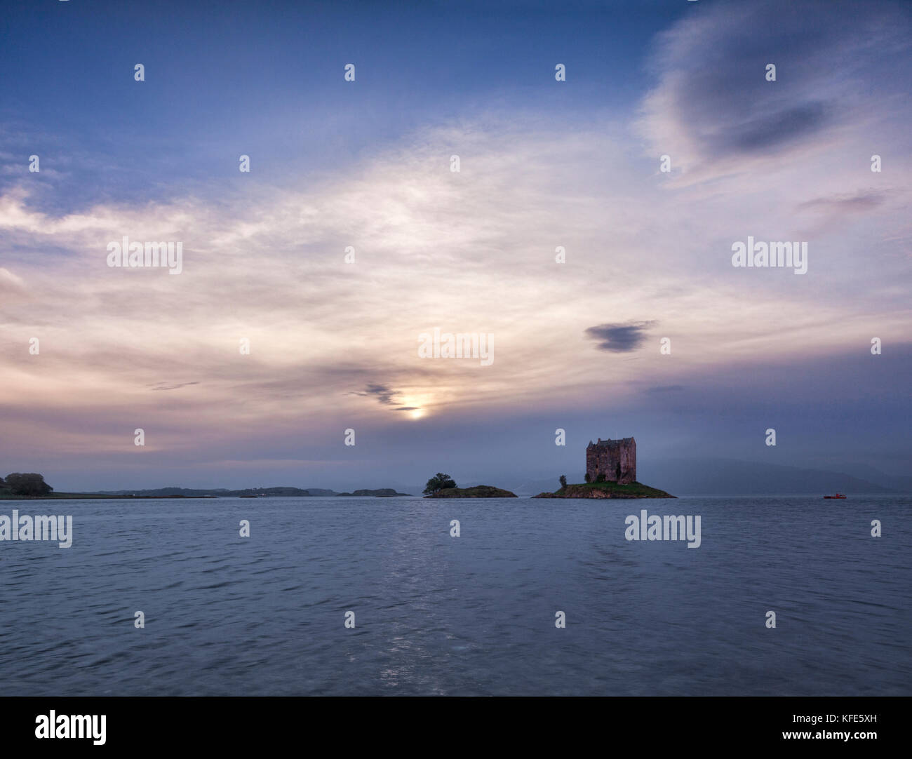Castle Stalker by moonlight, Argyll and Bute, Scotland, UK. - Stock Image