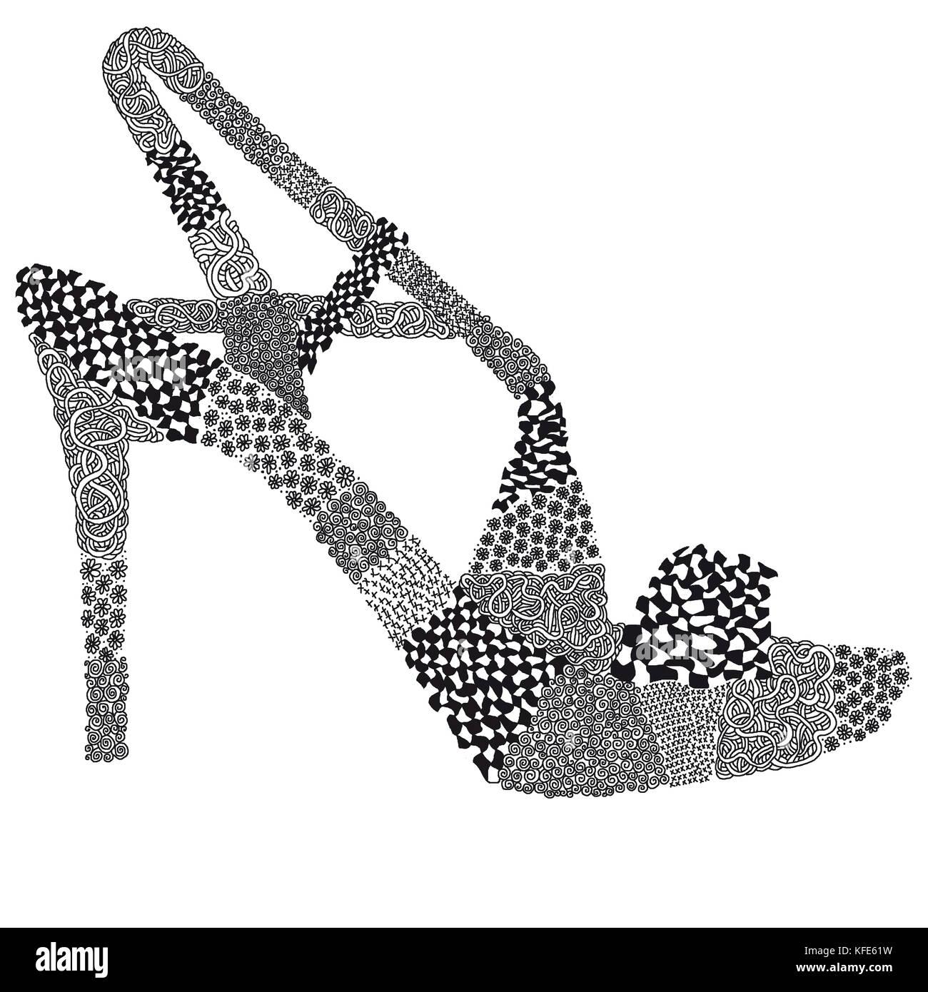 Sandale, Sandalette Damenschuh in Zentangel Textur Muster - Stock Image