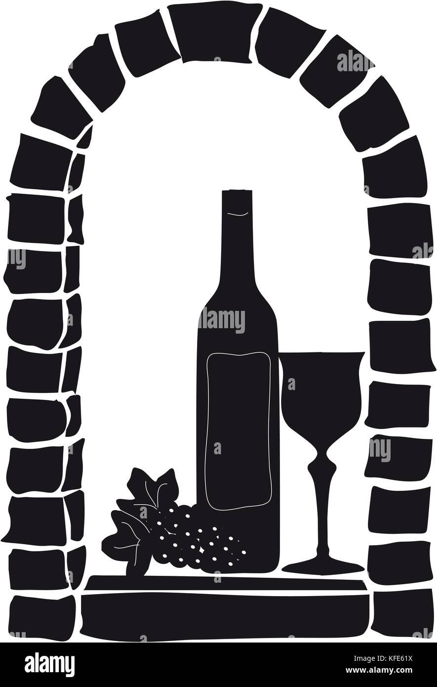Weinflasche, Glas undn Weintraube am einem Gewölbe Fenster Stock Photo